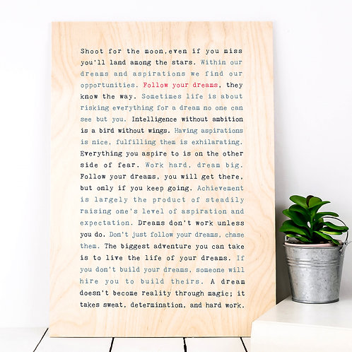 Wise Words SENTIMENT Plywood Prints (8 Designs)
