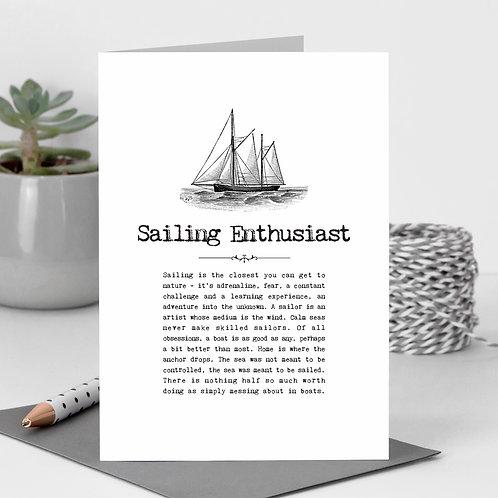 Sailing Enthusaist Vintage Words Greeting Card x 6