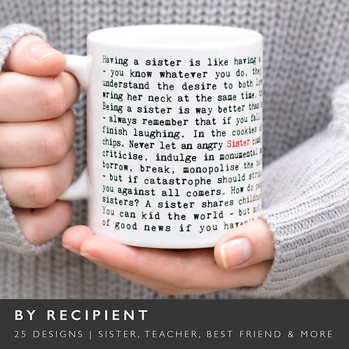 Wise Words RECIPIENT Mugs (26 Designs) x 3