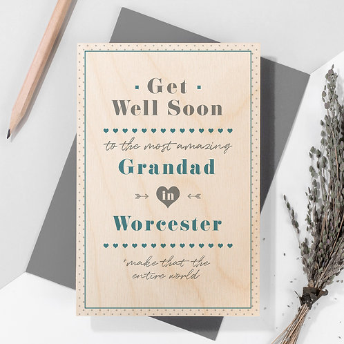 Get Well Personalised Wooden Keepsake Card in Blue x 6