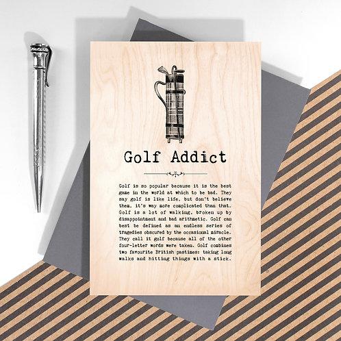 Golf Addict Mini Wooden Plaque Card x 6
