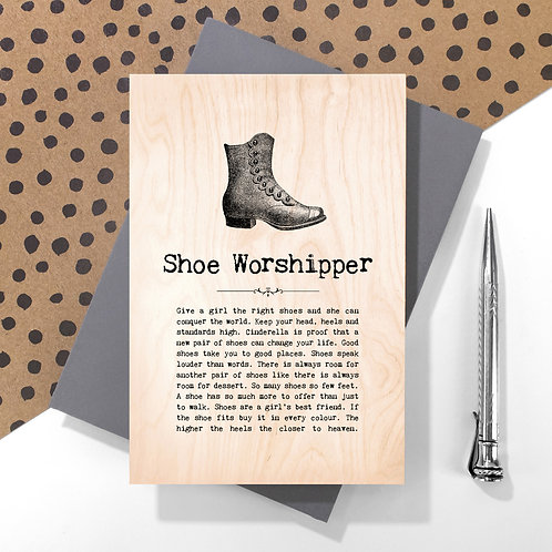 Shoe Worshipper Personalised Wooden Keepsake Card
