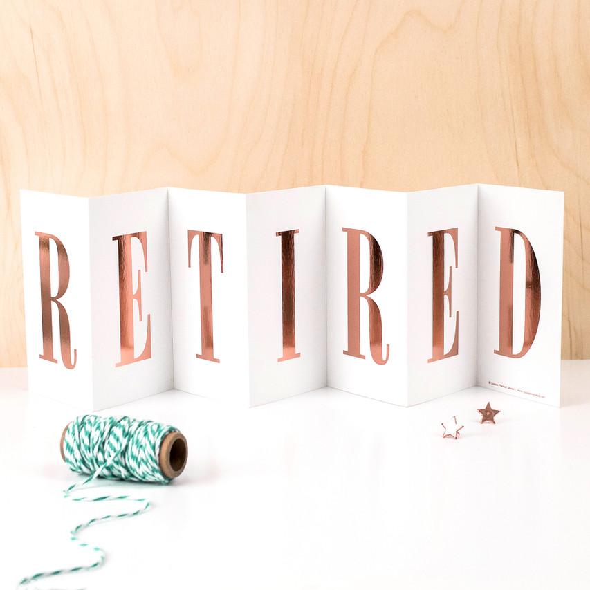 Retired Fold Out Banner Card for Retirement