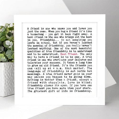 Best Friend Gift Friendship Quotes Print