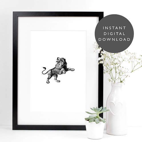 Safari Animal Lion A4 Printable Nursery Wall Art [DOWNLOAD ONLY]