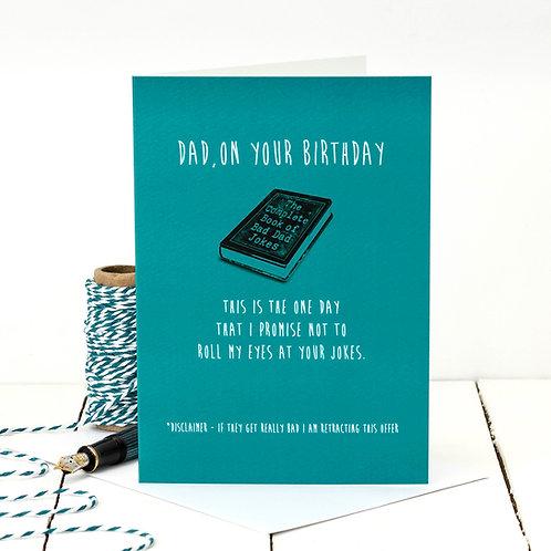 Bad Dad Jokes Funny Birthday Card x 6