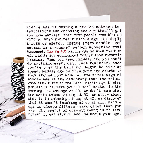 40th Birthday Wise Words Quotes Card x 6