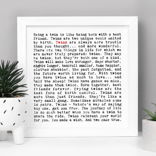 Twins | Wise Words Quotes Print | New Baby Gift