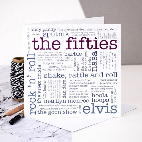 The Fifties 1950s Decade Word Cloud Card
