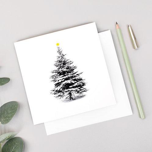 Scandi Snow Covered Christmas Tree Card x 6