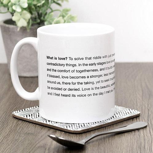 What is Love? Monochrome Minimalist Mug for Bride or Groom