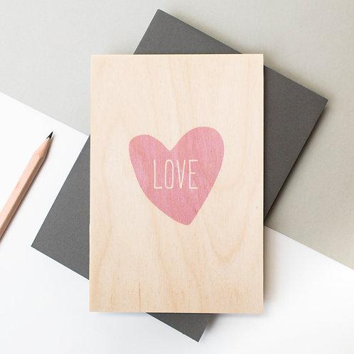 Loveheart Wooden Wedding Card x 6
