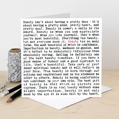 Beauty Wise Words Quotes Card for Her