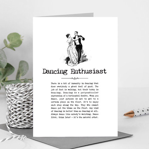 Dancing Enthusiast Vintage Words Greeting Card x6