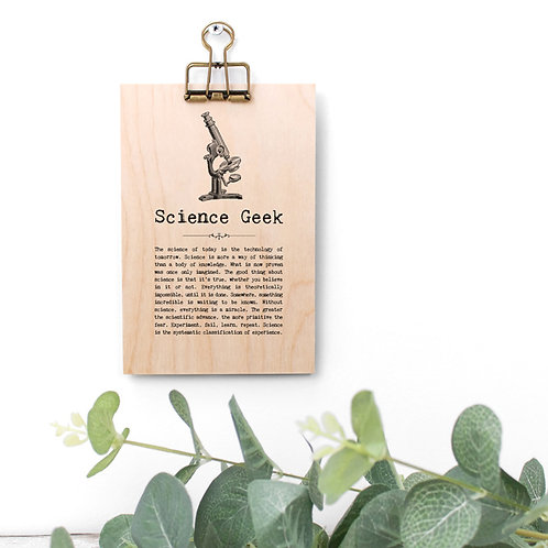 Science Quotes Wooden Sign with Hanger
