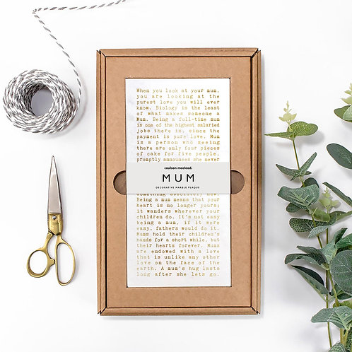 Mum Metallic Marble Quotes Plaque