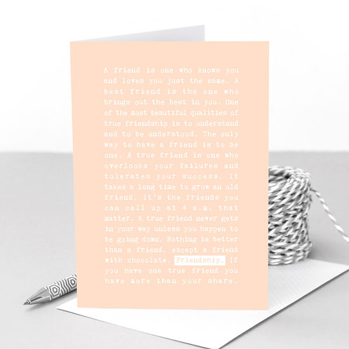 Friendship Quotes Pastel Peach Greeting Card
