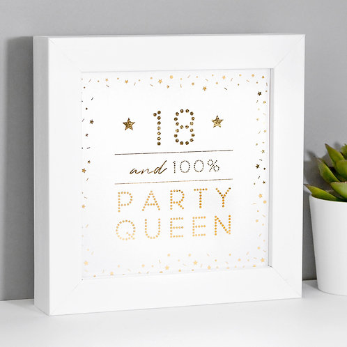 18 Party Queen Pearl/Gold Framed Print x 3