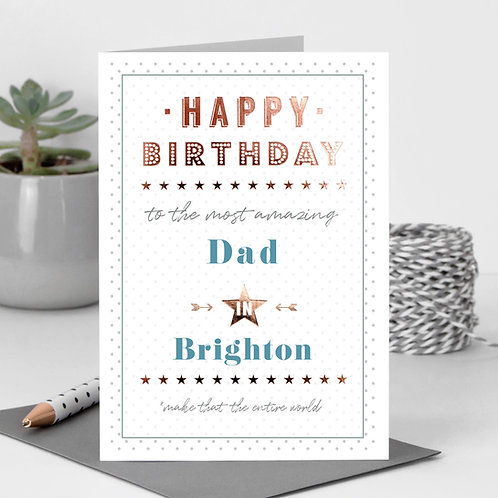 Happy Birthday Dotty Personalised Card in Blue x 6