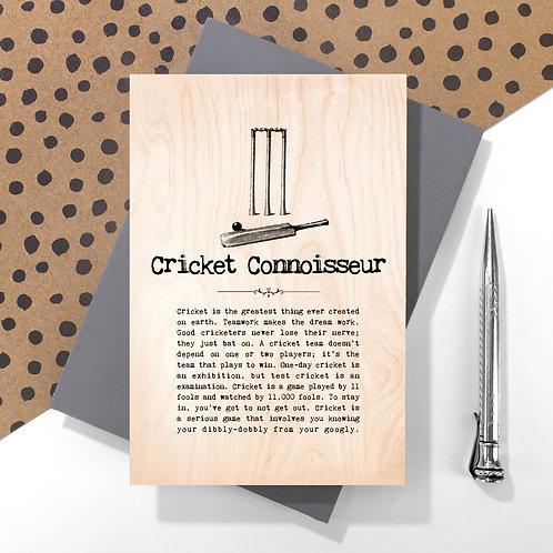 Cricket Connoisseur Mini Wooden Plaque Card x 6