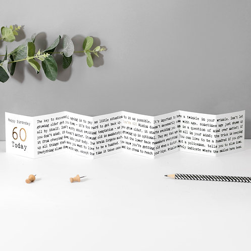 60 Today! Fold-Out Mini Birthday Card with Foil x 6