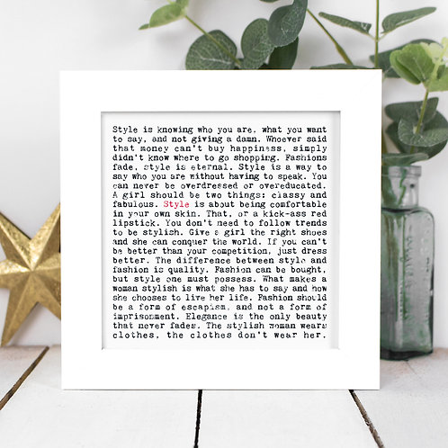 Style Quotes Framed Print in a Gift Box