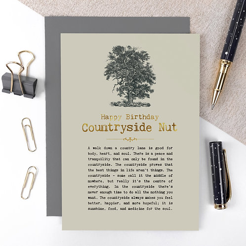Countryside Nut Vintage Foil Birthday Card x 6