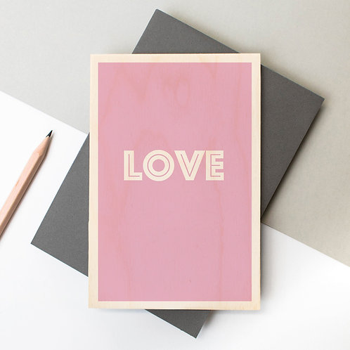 LOVE Pink Mini Wooden Plaque Card x 6