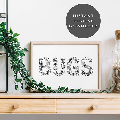Vintage BUGS Insect A4 Printable Wall Art [DOWNLOAD ONLY]