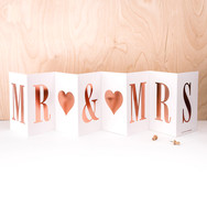 Rose Gold Concertina Mr and Mrs Greeting Card for Weddings