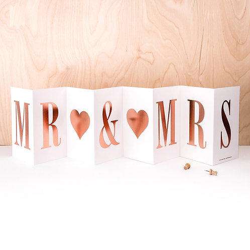 Anniversary 'MR AND MRS' Foil Concertina Card