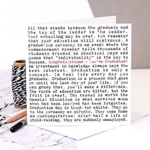 Graduation Wise Words Quotes Card