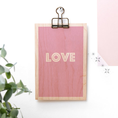 LOVE Pink Wooden Plaque with Hanger x 3
