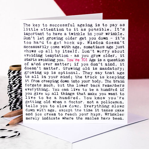 70th Birthday Wise Words Quotes Card x 6