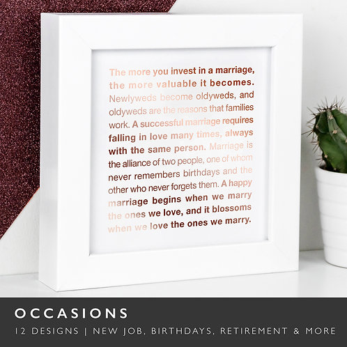 Wise Words OCCASIONS Copper Framed Prints x 3