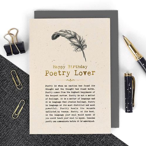 Poetry Lover Vintage Foil Birthday Card x 6