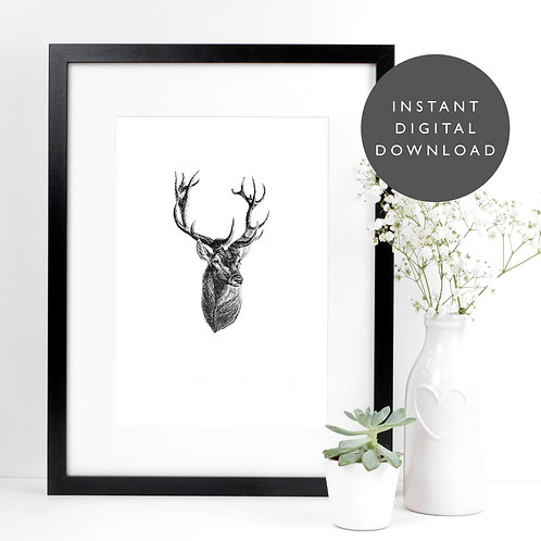 Woodland Stag A4 Printable Rustic Wall Art [DOWNLOAD ONLY]