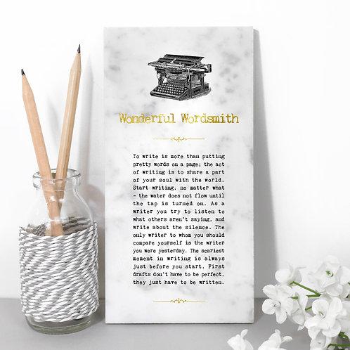 Wonderful Wordsmith Stone Plaque for Writers x 3