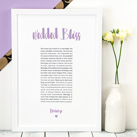 Wedding Gift \'Wedded Bliss\' Love Quotes Print
