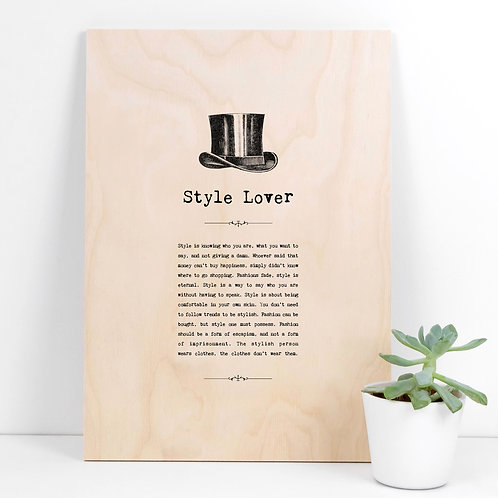 Style Lover A4 Wooden Quotes Plaque x 3