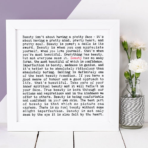 Beauty Wise Words Quotes Print for Her