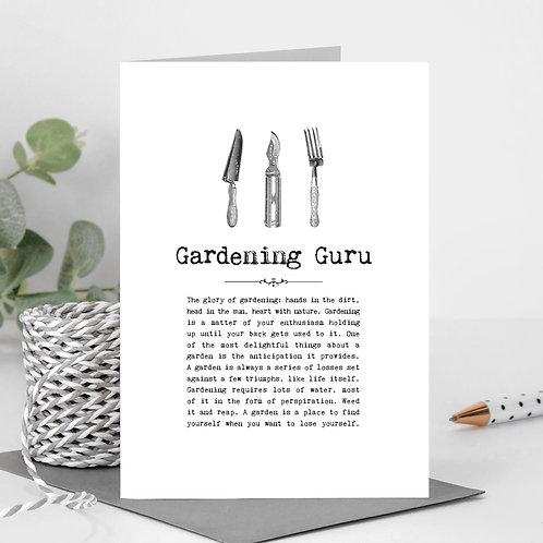 Gardening Guru Vintage Words Greeting Card x6
