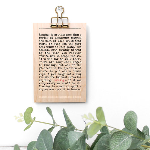 Running Wise Words Wooden Plaque with Hanger x 3
