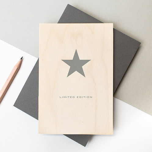 Limited Edition Star Wooden Plaque Card x 6