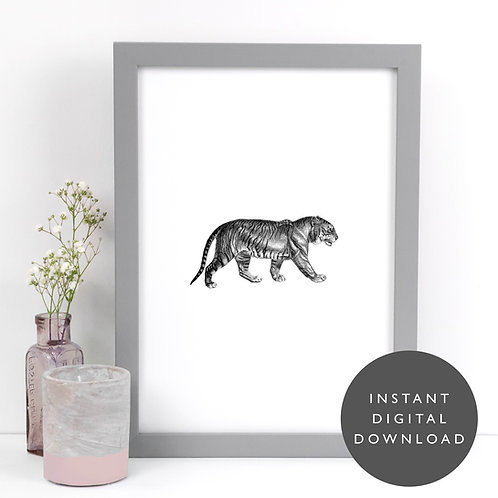 Jungle Animal Tiger A4 Printable Monochrome Wall Art [DOWNLOAD ONLY]