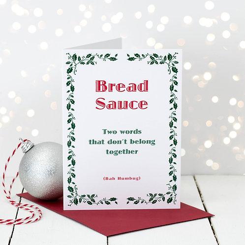 Bah Humbug Bread Sauce Christmas Card x 6