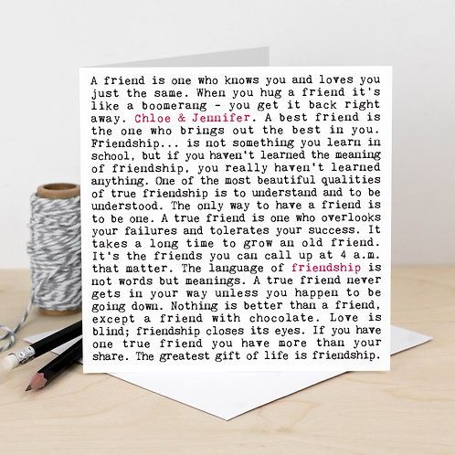 Friendship Wise Words Quotes Card for Best Friends