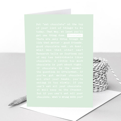Chocolate Mint Funny Quotes Card