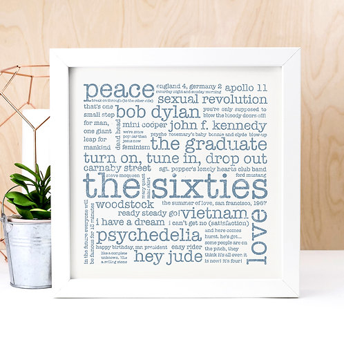 Sixties 1960s Unframed Word Cloud Print