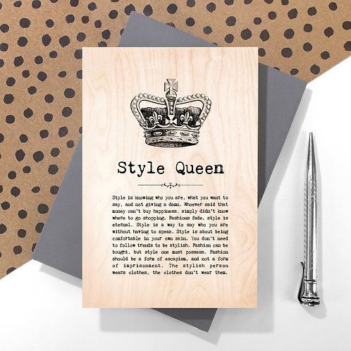 Style Queen Personalised Wooden Keepsake Card